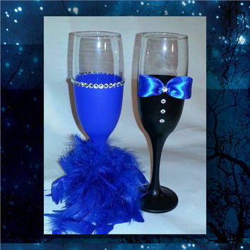 Bride and Groom blue and black toasting glasses with paint, feathers and rhinestones * wedding champagne glass * custom toasting glass