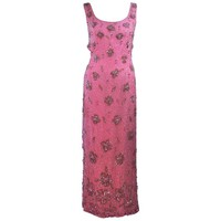 MAXWELL SHIEFF 1950's Pink Heavily Embellished Drape Gown Size 2 4