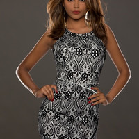 Black Floral Lace Overly Sleeveless Bodycon Dress with Slit