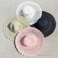 Sunsets And Silhouette Dreams 4 Color Straw Floppy Hats With Colored Beads