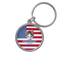Cat for For President 2016 Silver-Colored Round Key Ring