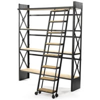 """""""Top Shelf"""" Iron & Wood Bookcase with Ladder"""