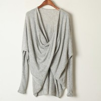 Grey Long Sleeve Crossover Design Knit Sweater