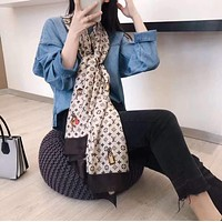 """""""LOUIS VUITTON"""" Spring Summer Women Temperament Fashion Spell Color  Double-Sided  Letter Cartoon Print  Silk Scarf Shawl"""