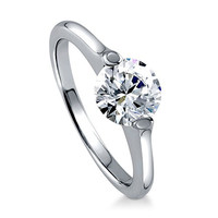 BERRICLE Rhodium Plated Sterling Silver Round Cut Cubic Zirconia CZ Solitaire Engagement Ring Size 8
