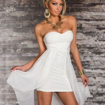 White Strapless Sweetheart Neckline with Chiffon Wrap Overlay Mini Dress