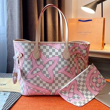 LV Neverfull Women's Classic Checkerboard Shopping Bag Tote and Mother Bag Two-Piece Set
