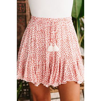 Floral Ruffle Mini Skirt (White/Red)