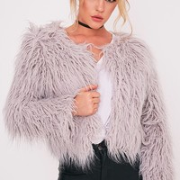 Liddie Grey Faux Fur Shaggy Cropped Jacket