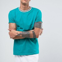 ASOS Relaxed T-Shirt With Roll Sleeve And Contrast Neck at asos.com
