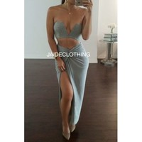 Grey V Crop Top - Jaide Clothing