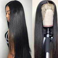 Lace Front Wigs Human Hair Straight Wig Brazilian Remy Virgin Hair for Women 18 inch Straight Lace Wigs 150% Density Human Hair Pre Plucked with Baby Hair Natural color (20 inch, 13x4 Straight Hair) 20 Inch