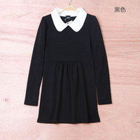 Winter Vintage Slim Dolls Long Sleeve Dress One Piece Dress [4917857348]