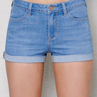 PacSun Kelso Blue Mid Rise Super Stretch Denim Shorts at PacSun.com