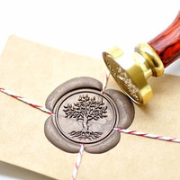 Tree of Life B20 Gold Plated Wax Seal Stamp x 1