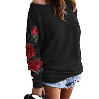 Floral Embroidery Black Sweatshirts Women Sexy Hollow Out Holes Ripped Off Shoulder Sweatshirt Casual Female Tracksuit Hoodies