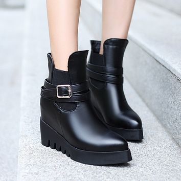 Black Buckle Ankle Boots Women Shoes Fall Winter 11191501