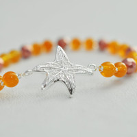 Sterling Silver Gold / Orange Starfish , Stretchy Bracelet - Beach Wedding Bridal Bridesmaid Gift