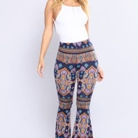 Cassandra Bell Bottom Printed Pants - Multi