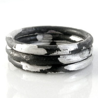 Stacking silver rings - oxidized sterling silver