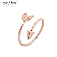 DIANSHANGKAITUOZHE Anillos Minimalist Resizable Rings For Women Rose Gold Silver Arrow Ring Men Jewelry Best Friend Rings Anel