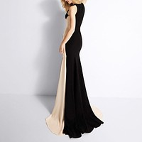 Long Round Neck Sleeveless Cocktail Dress.