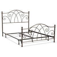 Queen size Complete Elegant Metal Bed Frame with Spiral Pattern Headboard and Footboard