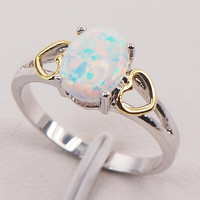 White Fire Opal 925 Sterling Silver Fashion Jewelry Ring Size 6 7 8 9 10 11 = 1933143940