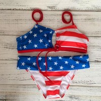 FASHION FLAG TWO PIECE HOLE BIKINIS SWIMWEAR BATHSUIT