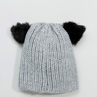 ASOS Cat Ears Beanie With Faux Fur Ears at asos.com