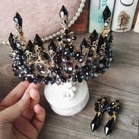 Exta Large Black Gothic Punk Crown Tiara New Luxury Big European Gorgeous Crystal Queen Wedding Hair Accessories