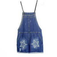 Denim Ladies Cute Star and Ripped Overall Shorts