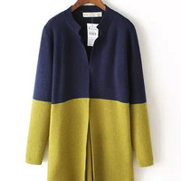 Color Block Single Buttoned Long Sleeve Knitted Cardigan