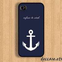 IPHONE 5 CASE White anchor on blue word quote iPhone 4 case iPhone 4S case iPhone case Hard Plastic Case Soft Rubber Case