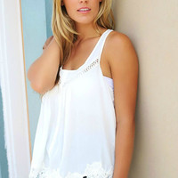 The Kate Lace Detail Front Button Racerback Off White Top