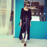 Black V Neck Sheer Long Blouse
