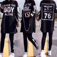 """Boy London"" Women Fashion  Letter Pattern Print Long Sleeve Leggings Set Two-Piece Sportswear"