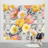 Collage of Poppies and Pattern Wall Tapestry by Micklyn | Society6