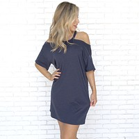 Take A Walk Jersey Tee Shirt Dress in Navy Blue