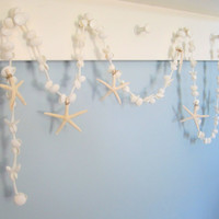 Beach Decor Seashell & Starfish Garland - Nautical Decor, White, 6ft w White Starfish