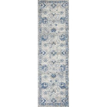 "Kitchen Runner Rugs - 2'2"" x 7'6"" Runner Polypropylene Grey/Blue Area Rug"