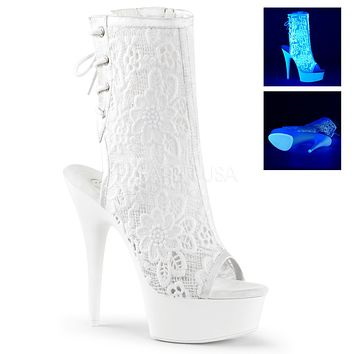 """Delight 1018ML White Lace Uv Ankle Boot 6"""" High Heels"""