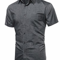 Highend quality Casual Basic Buttondown Short Sleeve Tshirts Black Polkadots