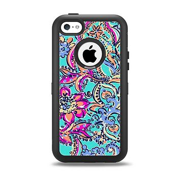 The Bright WaterColor Floral Apple iPhone 5c Otterbox Defender Case Skin Set