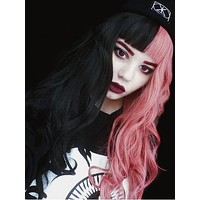 Long Half Pink & Half Black Wave Synthetic Lace Front Wig With Bang