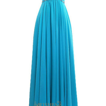 A-line Ocean Blue Beaded Details Chiffon Long Prom Dresses Am182