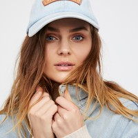 Free People Understated Patched Denim Baseball Hat