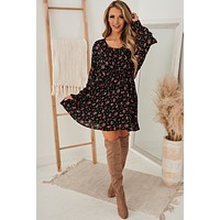 Mutual Attraction Floral Dress (Black/Red Multi)