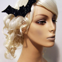 Bat Attack Glitter Hair Clip Accessory by Cutie Dynamite Rockabilly Cute Pinup