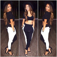 Fashion Women Hip Pop Black Bodycon Crop Tops & Casual Sports Sweatpants Outfit